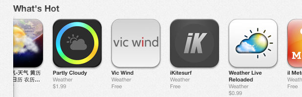Vic Wind App on Apple's What's Hot List